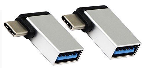 CGTime USB C to USB 3.0 Aluminum Adapter, USB A 3.0 Female to 90 Degree 3.1 Type C Male Converter, On The Go(OTG) for Smartphone Flash Drives, Mouse, Keyboards and other USB Peripherals Silver 2 Pack