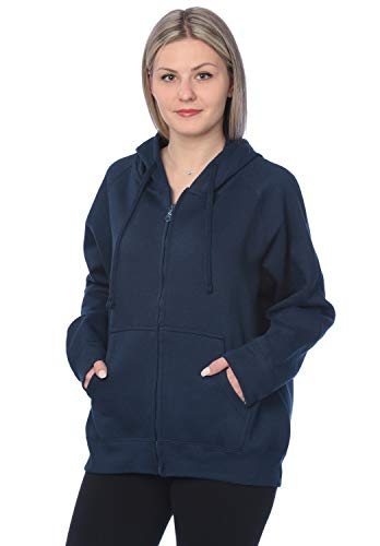 - Womens Sweatshirt Plus Size Heavyweight Active Fleece Full Zip-Up Hoodie WF03_Y18 Blue 4X