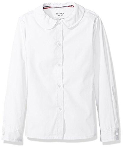 Collar Uniform (French Toast Big Girls' Long Sleeve Peter Pan Collar Blouse, White,)
