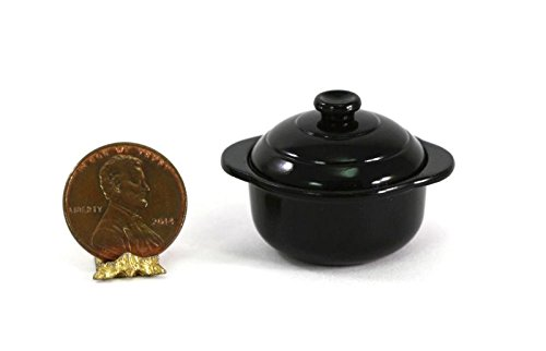 (Dollhouse Miniature 1:12 Scale Black Casserole Dish with Lid)