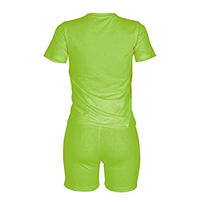 KIRJAUDU Women Casual 2 Piece Outfit Short Sleeve Cartoon Print T-Shirts Bodycon Shorts Set Jumpsuit Rompers at Women's Clothing store