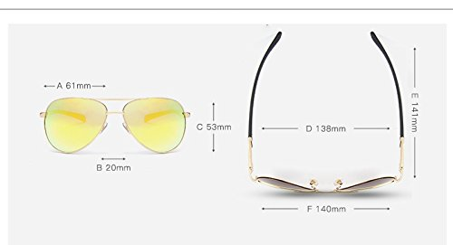 Gafas polarizadas Green de Gafas Borders de Sol New Conducción lan UV400 Diseño Metal Moda Color Polarized Marca Men de Sol Gafas Gold la Shuo Gafas gUvqHx