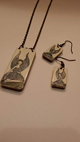 - JV Scrimshaw Piano Key Necklace and Earring Set Blue Winged Fairy