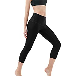 Tesla TM-FYC32-BLK_Small Yoga Pants High-Waist Tummy Control w Hidden Pocket FYC32