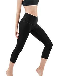 Tesla TM-FYC32-BLK_Medium Yoga Pants High-Waist Tummy Control w Hidden Pocket FYC32