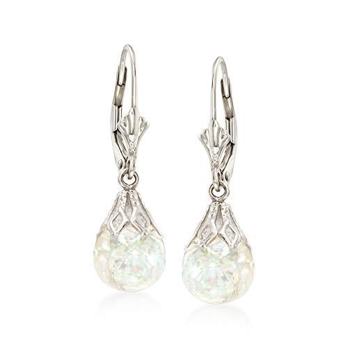 Ross-Simons Floating Opal Drop Earrings in 14kt White Gold