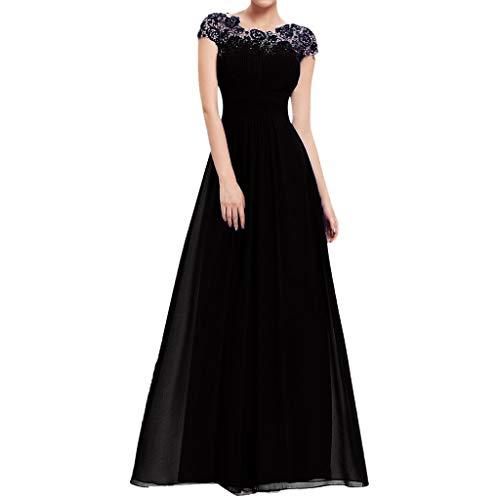 - Women Maxi Dress, JOYFEEL ❤️ Ladies Lace Elegant Wedding Evening Dresses Solid Color O-Neck Swing Party Dresses Black