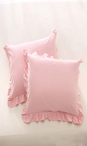 Meaning4 Pink Euro Throw Pillow Covers Cases Cotton with Hem Ruffle European Square Shams 26 x 26 inches Pack of 2