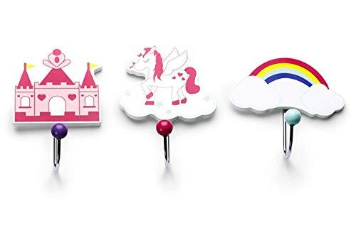 Mousehouse Gifts Set of Three Children's Kids Unicorn Themed Single Wooden Coat Hooks Wall Hooks