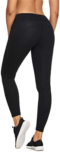MIKGR Women High Waist Yoga Pants with Pockets Tummy Control Workout Leggings 4 Way Stretch Non See Through 2