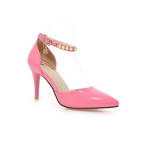 1TO9 Girls Studded Rivet Glass Diamond Buckle Polyurethane Sandals Pink EhRxWIJ
