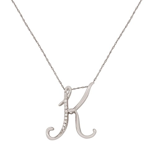 Mothers Day Pendant : Alphabet Pendant Necklace in 925 Sterling Silver Diamond Accents (I3) Personalized Letter Initial With FREE 18