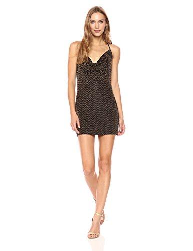 BCBGeneration Women's Cowl Neck Metallic Slip Dress, Black Combo, L ()