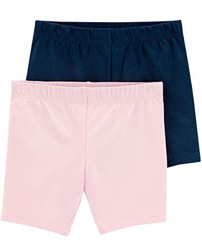 Carter's Girls' Baby, Toddler, Kids, 2 Pack Cotton Leggings/Shorts, Light Pink/Navy, 3T