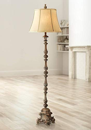 Rustic Floor Lamp French Faux Wood Antique Candlestick Beige Silk Bell Shade