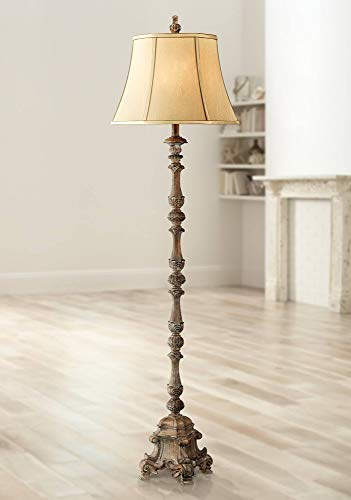 Rustic Floor Lamp French Faux Wood Antique Candlestick Beige Silk Bell Shade for Living Room Reading Bedroom Office - Regency Hill