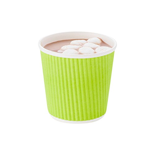 Disposable Paper Hot Cups - 500ct - Hot Beverage Cups, Paper Tea Cup - 4 oz - Eco Green - Ripple Wall, No Need For Sleeves - Insulated - Wholesale - Takeout Coffee Cup - Restaurantware - Out Cup