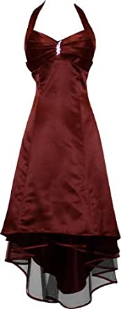Satin Halter Dress Prom Bridesmaid Holiday Junior Plus Size, Small, Burgundy