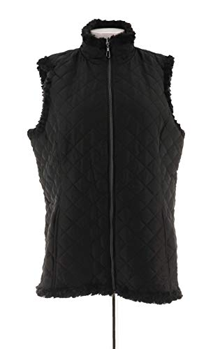 - Denim & Co Reversible Zipper Textured Quilted Vest Pockets Black S New A282681
