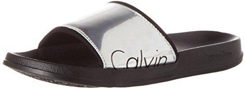 Calvin Klein underwear Slide, Sandalias con Cuña para Mujer Plateado (Multicolor 910)