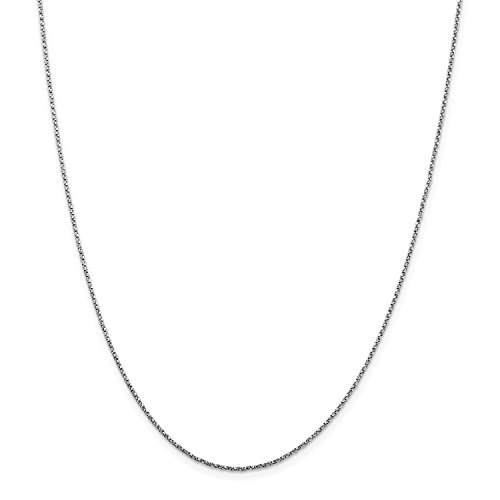 Roy Rose Jewelry 14K White Gold 1.2mm Twisted Box Chain Necklace ~ Length 16'' inches - 16' Twisted Box Chain