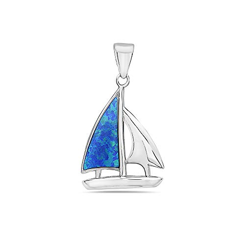 925 Solid Sterling Silver Lab Created Blue Opal Sail-Boat, Beach Pendant / Charm, Neckalce or Bracelet ()