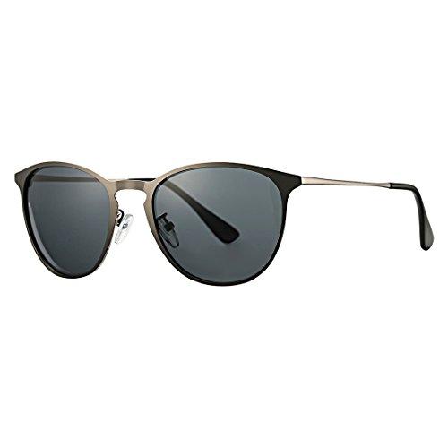 Vintage Erika Style Polarized Metal Sunglasses COASION Retro Round Mirror Flat Lens Shades Unisex (Gunmetal Frame/Black Lens, (Gunmetal Polarized Shades)