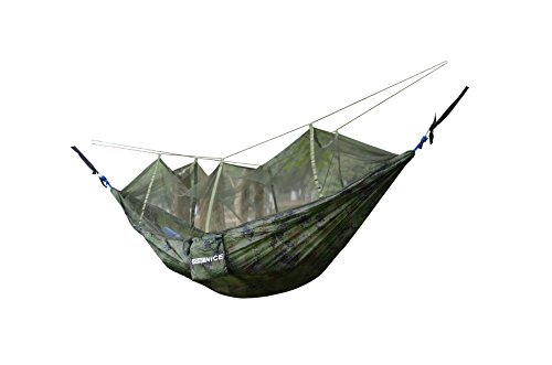 WoneNice Hammock with Mosquito Net, Portable Lightweight Nylon Parachute Multifunctional Hammock with Net and Tree Straps for Camping, Backpacking, Travel, Beach, Yard. ()