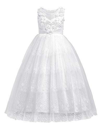 Chiffon Sash (Blevonh Lace Flower Girl Dress, Children Formal Pageant Dresses Floor Length Sleeveless Bowknot Satin Sash Multilayer Chiffon Vintage Retro 3D Flower Dresses White 150(9-10 Years))