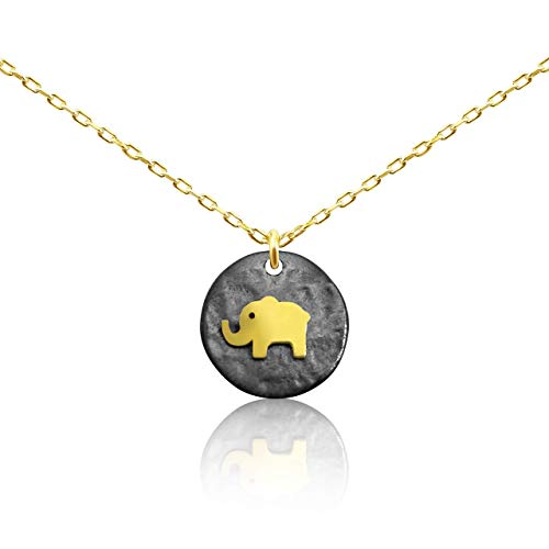 - Lucky Elephant Necklace Gold Animal Charm Necklace