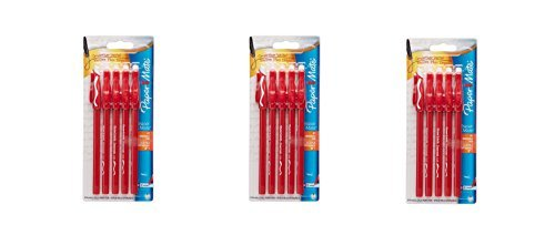 Paper Mate Erasermate Stick Medium Tip Ballpoint Pens, 5 Red Ink Pens (3173558PP) __3PACK__