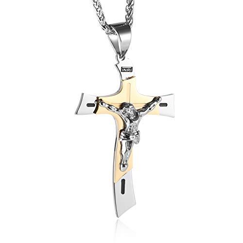 - HZMAN Men's Catholic Jesus Christ on INRI Cross Crucifix Stainless Steel Pendant Necklace 24