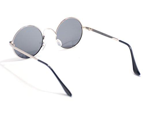 Negro Sol De Metal 9046 Hombre Redondas Gafas JEE Plata Mujer Polarizado qza4n1