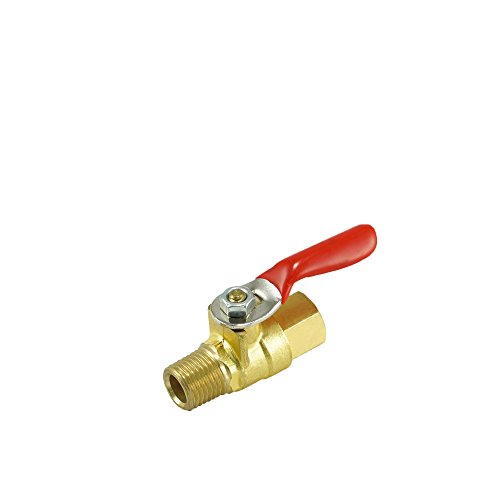 Npt Male Stem (Nigo AN10 Series Forged Brass Mini Ball Valve, 180 Degree Operation Handle, NPT Male x Female, Rated to 600WOG (1/4
