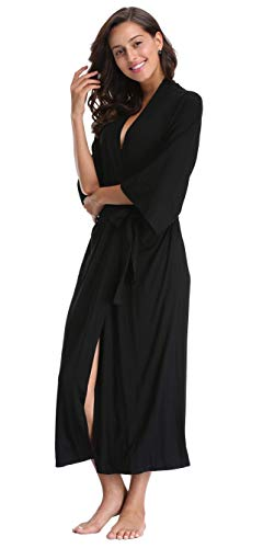 WitBuy Women's Long Cotton Robes Lightweight Bathrobe Full Length V Neck Sleepwear Loungewear for Ladies
