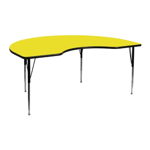MFO 48''W x 72''L Kidney Yellow High Pressure Laminate Activity Table - Standard Height Adjustable Legs
