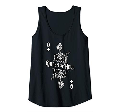 Womens Queen Of Hell Dead Skull Feminist Goth Playing Card Tank Top