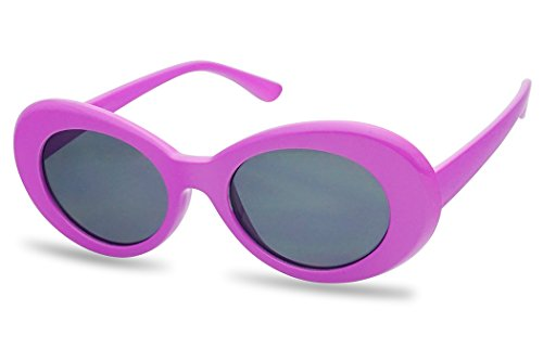 cc0eb0ef5a7 Oval Translucent Clout Goggles Frame Retro Color Transparent Lens Sun  Glasses (Purple