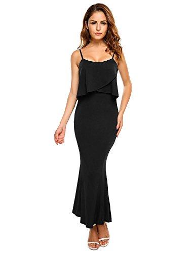 Black Halter Flounce Dress - ELESOL Women Long Slim Bodycon Classy Halter Mermaid Evening Dresses