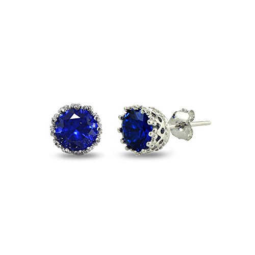 Sterling Silver Created Blue Sapphire Crown Stud Earrings