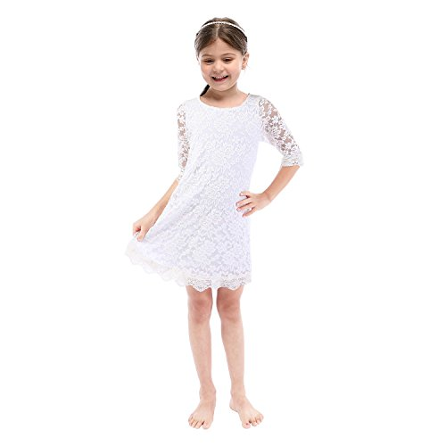 Lilytots Rustic Flower girls Lace Vintage Wedding Party Dress With 3/4 Sleeves (5T, White)