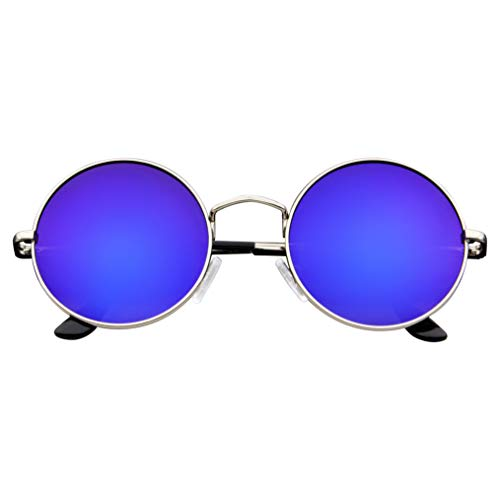 John Lennon Inspired Sunglasses Round Hippie Shades Retro Colored Lenses (Purple Ice) -