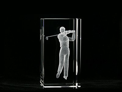 Asfour Crystal 1159-100-37 4 L x 2 H x 2 W in. Crystal Laser-Engraved Golfer Sports Laser-Cut (Golfer Bear)