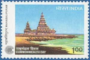 - Sams Shopping Commonwealth Day - Mahabalipuram Commonwealth of Nations Association Peace Shore Temple MahabalipuramRs 1 Stamp