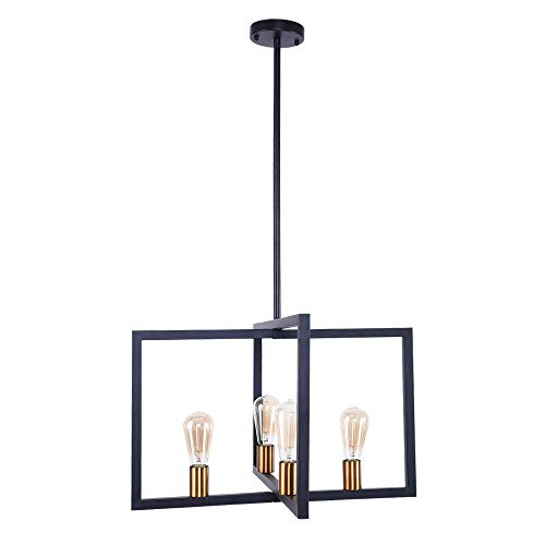 OYIPRO Modern Pendant Light, 4 Lights Industrial Kitchen Island Light Fixture Hanging Ceiling Lamp Black Frame Brass Lamp Socket E26