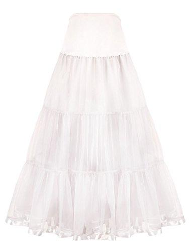 (Women's Ankle Length Petticoat Crinoline Underskirt for Long Dress (M-L, White))