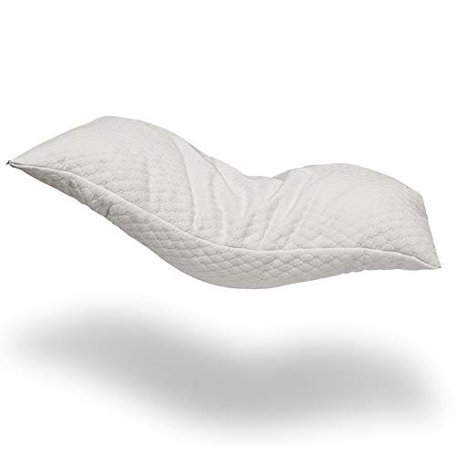 Alasville Natural Shredded Latex Foam Pillow Adjustable Standard/Queen/King Pillow with Removable Breathable Cooling Hypoallergenic Pillow Cover ()