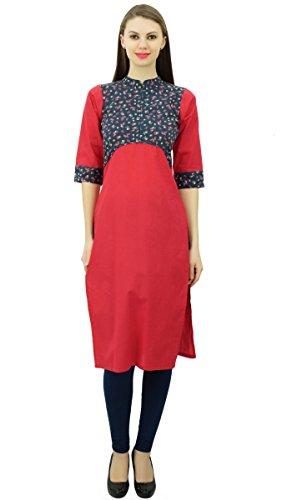 Phagun Para mujer de algodón recto cuello Kurti tapa de la túnica Mandarín Rojo