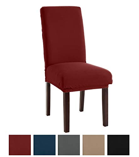 Great Bay Home Stretch Jersey Dining Chair Slipcovers. Protective Covers, Super Fit, Removable and Washable. (Set of 4, Burgundy)