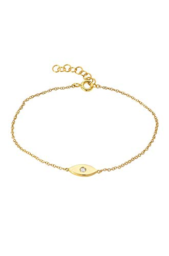 Diamond evil eye bracelet, 14k solid gold ()